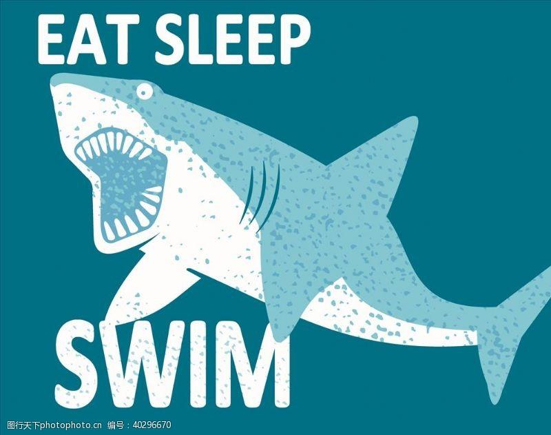 卡通小动物鲨鱼图片